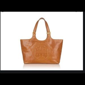 Tory Burch bombe T leather tote/ shoulder bag EUC